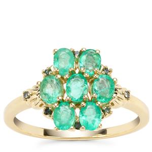 Colombian Emerald Ring with Green Diamond in 9K Gold 1.16cts