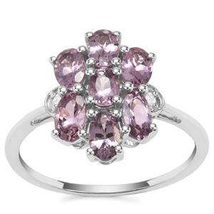 Mahenge Purple Spinel Ring with Diamond in 9K White Gold 1.77cts