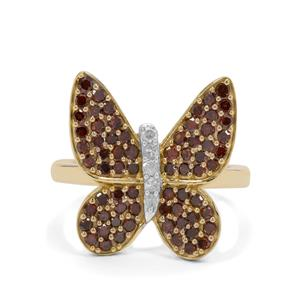 1ct Red & White Diamond 9K Gold Butterfly Ring