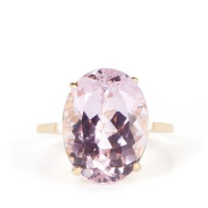 Kunzite Ring with White Zircon in 9K Gold 11.89cts