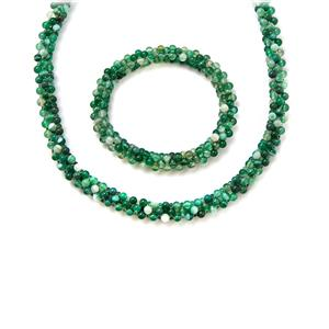 296.00cts Green Agate & Shell Necklace and Bracelet Sets