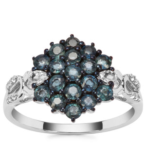 Natural Nigerian Blue Sapphire Ring with White Zircon in 9K White Gold 1.38cts