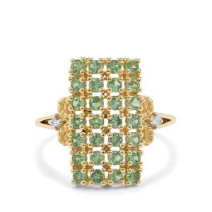 Tsavorite Garnet & Diamond 9K Gold Ring ATGW 1.14cts