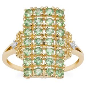 Tsavorite Garnet Ring with Diamond in 9K Gold 1.14cts