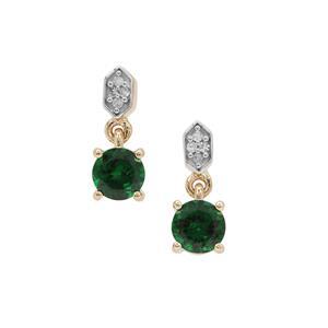 Tsavorite Garnet Earrings with Diamond in 9K Gold 1.05cts