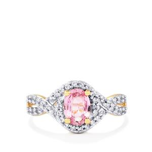 Sakaraha Pink Sapphire Ring with White Zircon in 9K Gold 1.11cts