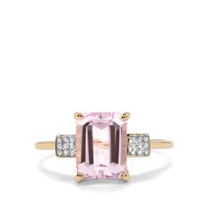 Minas Gerais Kunzite & Diamond 9K Gold Ring ATGW 2.75cts