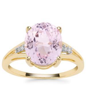 Kolum Kunzite Ring with Diamond in 10k Gold 4.64cts