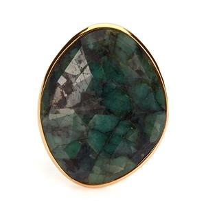 Emerald Sarah Bennett Ring in 14K Gold Tone Sterling Silver 16.97cts