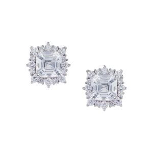 3.87ct Asscher Cut Ratanakiri Zircon Sterling Silver Earrings