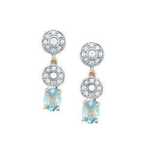 Ratanakiri Blue Zircon Earrings with White Zircon in 10k Gold 3.17cts