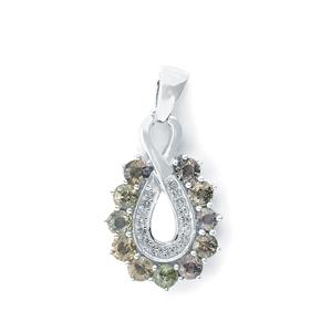 Tunduru Colour Change Sapphire & White Topaz Sterling Silver Pendant ATGW 2.16cts
