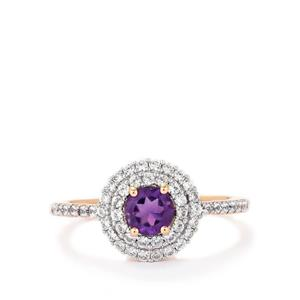 Amethyst Ring with White Zircon in Rose Plated Sterling Silver 1.36cts