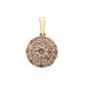 Champagne Diamond Pendant in 9K Gold 0.75ct