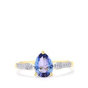 Tanzanite & Diamond 10K Gold Ring ATGW 1.04cts