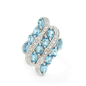 3.40ct Swiss Blue & White Topaz Sterling Silver Ring