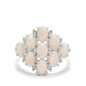 Coober Pedy Opal & Tsavorite Garnet Sterling Silver Ring ATGW 2.41cts