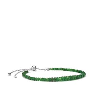 Tsavorite Garnet Slider Graduated Bead Bracelet in Sterling Silver 14cts