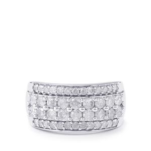 1.35ct Diamond Sterling Silver Ring