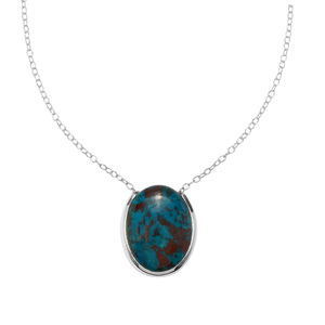 Chrysocolla Necklace in Sterling Silver 18.71cts