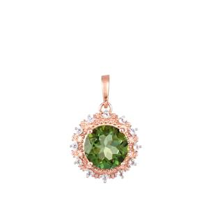 Fern Green Quartz Pendant with White Topaz in Rose Gold Plated Sterling Silver 3.09cts