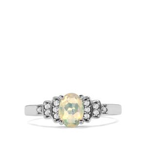Ethiopian Opal & White Topaz Sterling Silver Ring ATGW 0.61cts