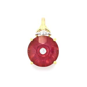 Lehrer QuasarCut Malagasy Ruby Pendant with Diamond in 9K Gold 6.73cts (F)