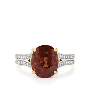Color Change Garnet Ring with Diamond in 18k Gold 5.46cts