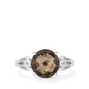 Smokey Quartz Ring with White Topaz in Sterling Silver 3.53cts