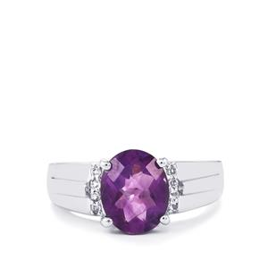 Zambian Amethyst & White Topaz Sterling Silver Ring ATGW 4.12cts