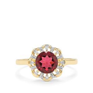 Savanna Pink Garnet & Diamond 9K Gold Ring ATGW 1.49cts