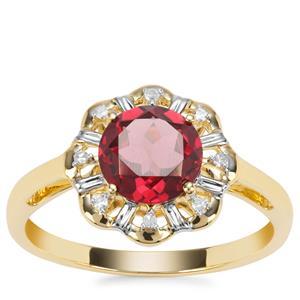 Savanna Pink Garnet Ring with Diamond in 9K Gold 1.49cts