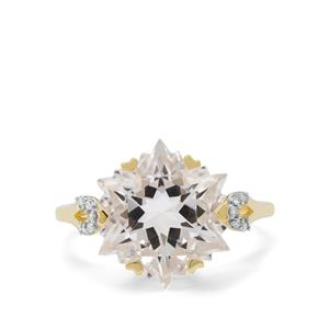 Wobito Snowflake Cut Itinga Petalite Ring with Diamond in 9K Gold 6.45cts