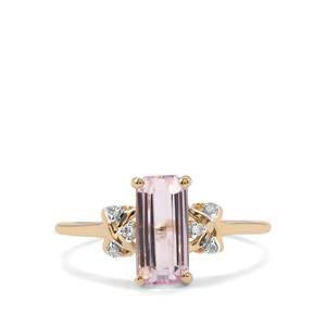 Minas Gerais Kunzite & Diamond 9K Gold Ring ATGW 1.72cts
