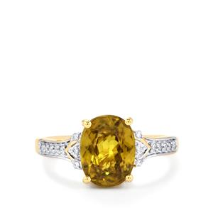 Ambilobe Sphene Ring with Diamond in 18k Gold 3.59cts