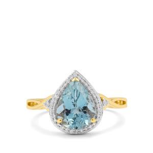 Nigerian Aquamarine Ring with Diamond in 18K Gold 2.35cts