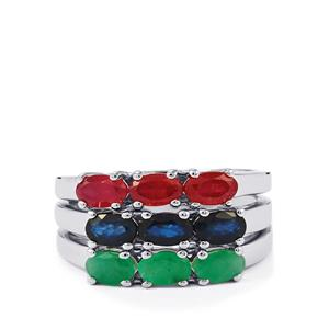Madagascan Blue Sapphire, Malagasy Ruby Set of 3 Rings with Carnaiba Brazilian Emerald in Sterling Silver 2.72cts (F)
