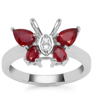 Malagasy Ruby Ring with White Zircon in Sterling Silver 1.74cts (F)