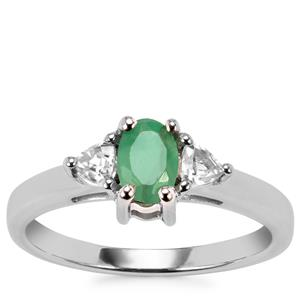 Carnaiba Brazilian Emerald Ring with White Topaz in Sterling Silver 0.70cts