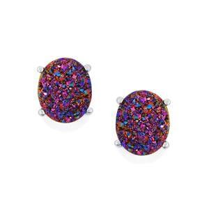 9.07ct Purple Drusy Sterling Silver Earrings