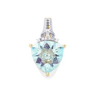 Lehrer KaleidosCut Sky Blue Topaz, Ametista Amethyst & Diamond 9K Gold Pendant ATGW 3.40cts
