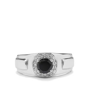 Black Spinel & White Topaz Sterling Silver Ring ATGW 1.36cts