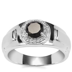 Black Spinel Ring with White Topaz in Sterling Silver 1.36cts
