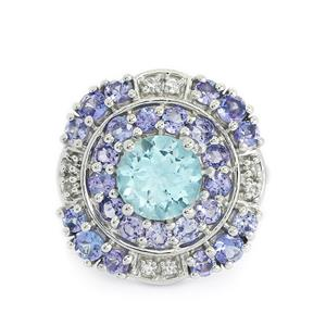 Tanzanite, Sky Blue & White Topaz Sterling Silver Ring ATGW 3.62cts