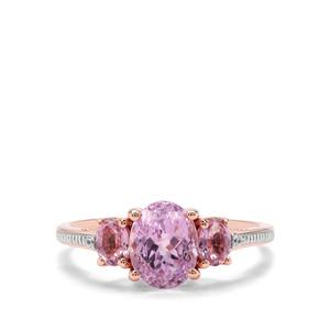 Nuristan Kunzite,  Sakaraha Pink Sapphire & White Zircon 9K Rose Gold Ring ATGW 2.44cts