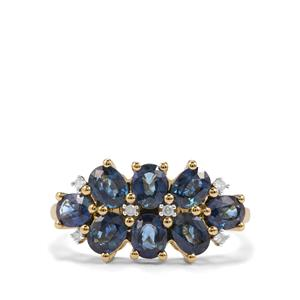 Australian Blue Sapphire Ring with Diamond in 10K Gold 2.54cts