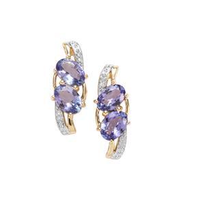 AA Tanzanite Earrings with Diamond in 9K Gold 2.45cts