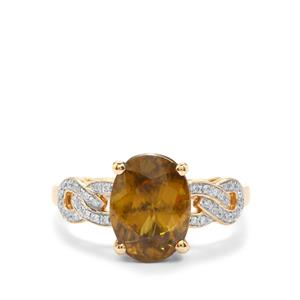 Ambilobe Sphene & Diamond 18K Gold Lorique Ring MTGW 4.75cts