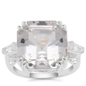 Asscher Cut Optic Quartz Ring with White Zircon in Sterling Silver 12.90cts