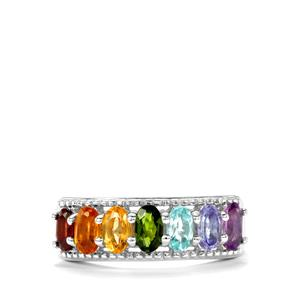 1.71ct Rainbow Gemstones Sterling Silver VIBGYOR Ring